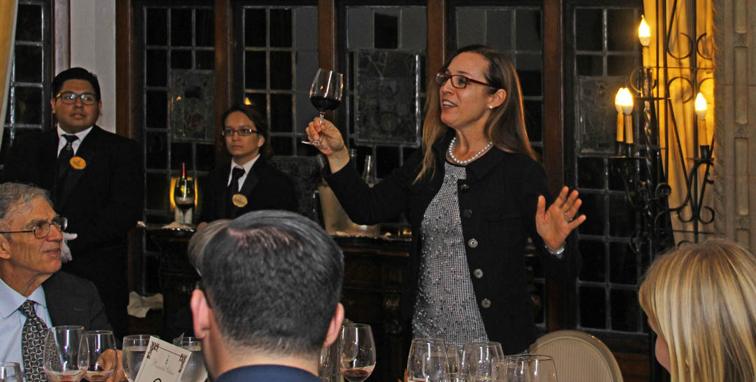 Our special guest speaker for our Grchich Hills Wine Dinner, Violet Grigich, who flew in from Napa Valley to help present our event.
